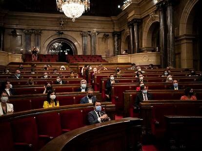 Momento del pleno del Parlamento de Cataluña de ayer.