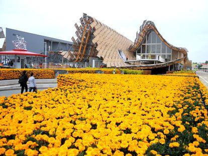 Pabellón de China en la Expo de Milán, unos días antes de su inauguración.