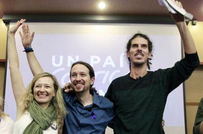 Victoria Rosell, Pablo Iglesias y Alberto Rodríguez, en una imagen de archivo.