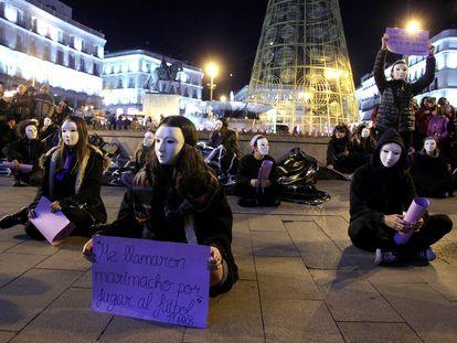 Manifestación en Madrid contra la violencia a las mujeres.