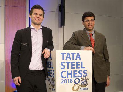 Carlsen y Anand, hoy durante la ceremonia de inauguración