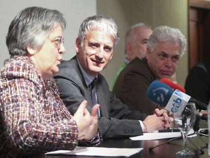 El presidente de la Audiencia de Gipuzkoa, Iñaki Subijana, en el centro, en una imagen de 2019.