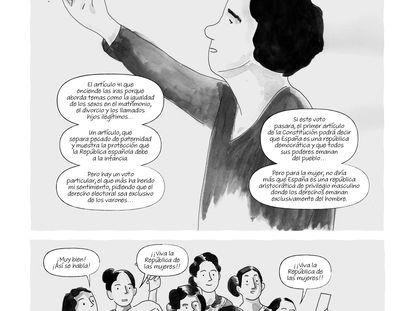 Viñetas de la novela gráfica 'Una mujer, un voto', de Alicia Palmer y Montse Mazorriaga.