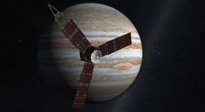 Ilustración de la nave automática interplanetaria <i>Juno</i> sobre una imagen de fondo del planeta Júpiter.