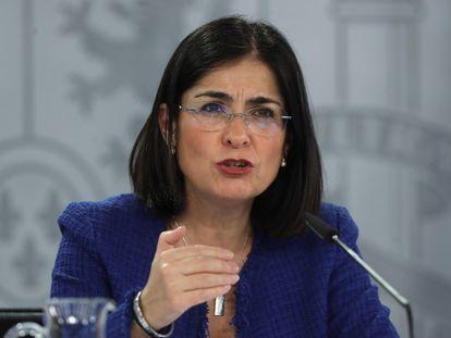 La ministra de Sanidad, Carolina Darias, durante una rueda de prensa el 28 de enero.