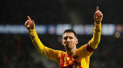 Messi festeja su tanto al Atlético.