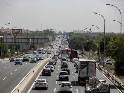 La carretera de Andalucía, a la altura de Pinto, el día que comenzó la operación salida el pasado 15 de agosto.