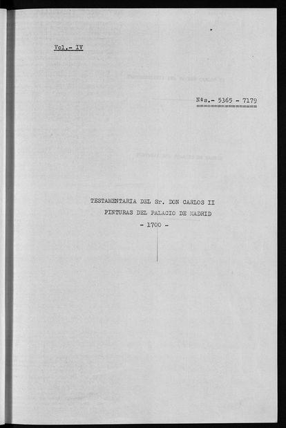 Página del inventario real que recoge la testamentaria de Carlos II y su colección en el Palacio de Madrid (1700)