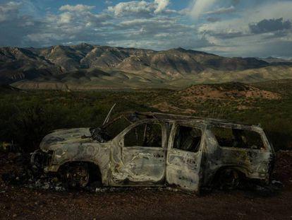 El vehículo donde viajaba la familia LeBarón.