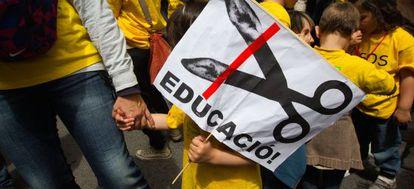 Manifestación contra los recortes educativos celebrada en Barcelona el pasado mes de mayo.