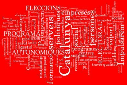 <b>PSC. Lema: garantía de progreso.</b> En el cuadro destacan palabras como como impulsarem, formació, serveis, empreses, persones, promourem, tras las consabidas Catalunya, autonomiques, electoral elecciones.