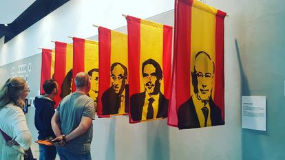 Julia Eme and Byron Maher created red and yellow flags that on one side showed the preconstitutional harrier and on the other the faces of current politicians.