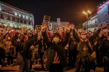 Concentración en Madrid contra la condena a Pablo Hasél.