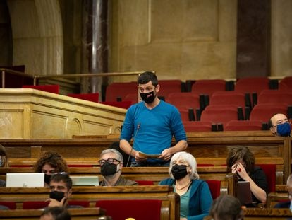 El diputado de la CUP Xavier Pellicer, en una sesión de control al Govern. David Zorrakino / Europa Press 20/10/2021