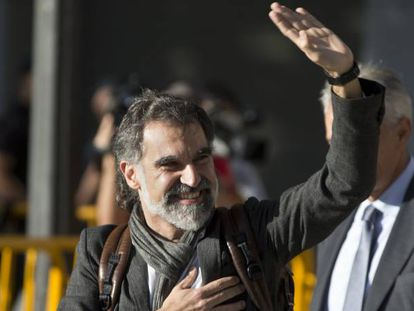 Jordi Cuixart, presidente de Omnium Cultural, a su llegada a la Audiencia Nacional.