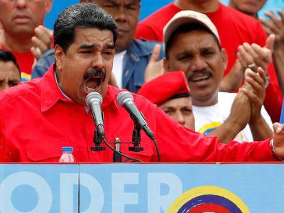 Nicolás Maduro en un acto político en Caracas.