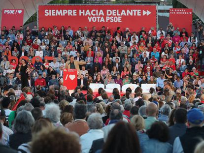 Pedro Sánchez, durante el cierre de campaña del PSOE en Madrid.