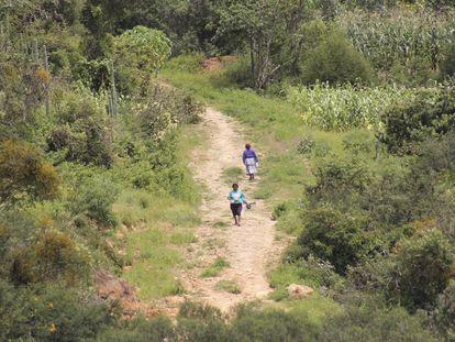 Dos mujeres de la comunidad de Santiago Mitlaltongo caminan entre las montañas de Oaxaca.