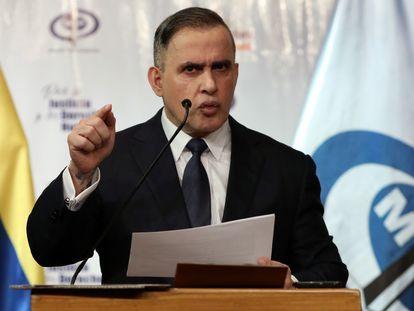 El fiscal general de Venezuela, Tarek William Saab, en una rueda de prensa celebrada en Caracas el 8 de mayo de 2020.