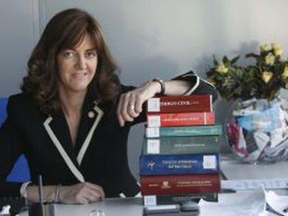 Idoia Mendia, en un despacho en uno de los edificios del Gobierno en Bilbao.