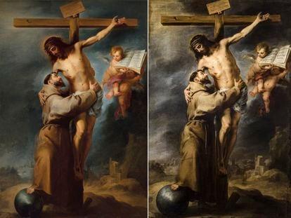 A la izquierda, el cuadro que iba a subastar Christie's en Nueva York. A la derecha, el original, 'San Francisco abrazando a Cristo en la cruz', de Bartolomé Esteban Murillo.