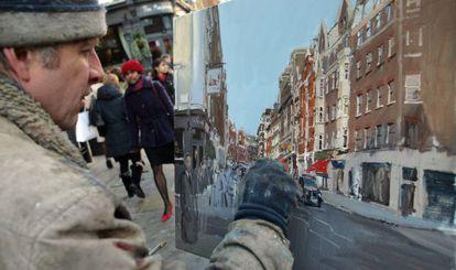 Un pintor retrata un tramo de la calle Marylebone High Street ( Londres)