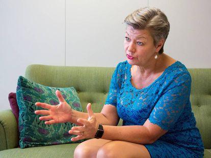Ylva Johansson, comisaria europea de Interior, durante su entrevista con EL PAÍS.