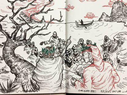 Ilustración de Leonardo Achilli del Canto III de 'La Divina Comedia'.