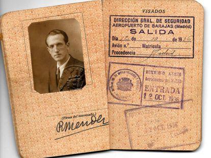 Pasaporte de Rafael Méndez en 1936.