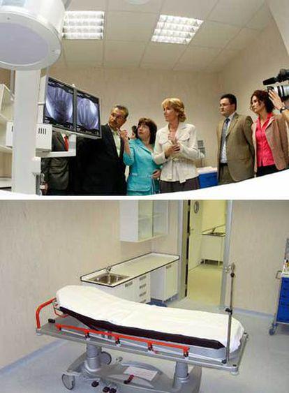 Aguirre observa un equipo de radiología que fue retirado poco después. Abajo, la misma habitación tras la visita.