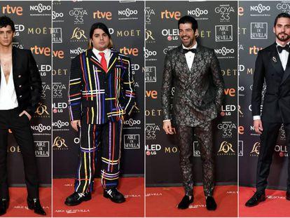 Eduardo Casanova, Brays Efe, Miguel Ángel Muñoz y Paco León (de izquierda a derecha en la imagen) demuestran que los hombres también pueden arriesgar en la alfombra roja.
