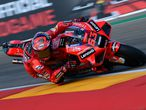Ducati Italian rider Francesco Bagnaia rides his bike during the qualifying session for the Moto Grand Prix of Aragon at the Motorland circuit in Alcaniz on September 11, 2021. (Photo by LLUIS GENE / AFP)