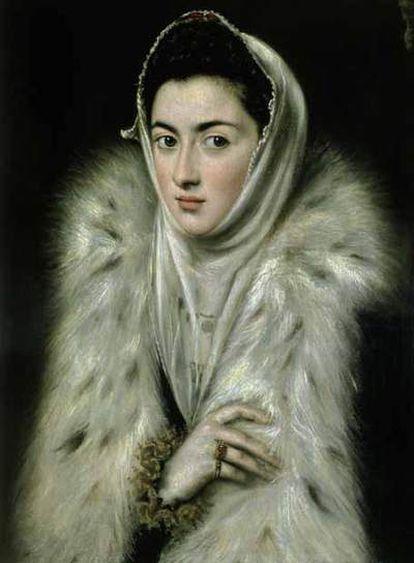 El retrato titulado <i>La dama del armiño, Infanta Catalina Micaela</i> o <i>Jerónima de las Cuevas</i> se atribuye a El Greco y a Sofonisba Anguissola.