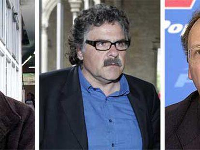 De izquierda a derecha, el portavoz de IU-ICV, Joan Herrera; el diputado de ERC Joan Tardà, y el coordinador del área de estudios del PP, Gabriel Elorriaga.