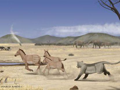 El clima era casi desértico y paseaban animales parecidos a los de una sabana africana actual