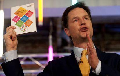 El líder del Partido Liberal Demócrata británico, Nick Clegg, este miércoles en Londres.