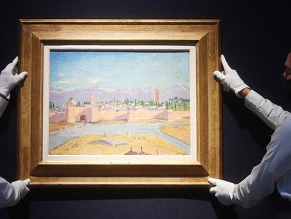 La obra, 'La torre de la mezquita Koutoubia ', hasta ahora propiedad de Angelina Jolie pintada por Churchill.