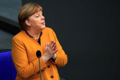 German Chancellor Angela Merkel in the Bundestag on March 24.