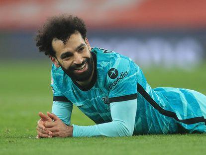 Mo Salah, durante el último partido del Liverpool en el Emirates.