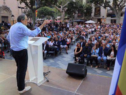 El 'president' Quim Torra durante el acto en Arenys de Munt (Barcelona).