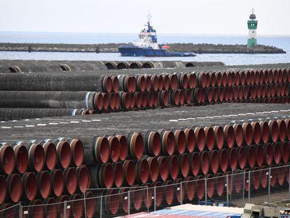 Varias tuberías del gasoducto Nordstream 2, en enero, a la espera de ser instaladas.