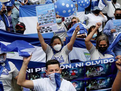 Una protesta de exiliados nicaragüenses en Costa Rica, en septiembre pasado.