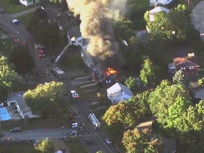 Una de las casas incendidas en Lawrence, a las afueras de Boston.