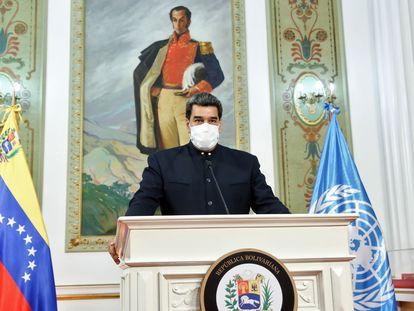 Nicolás Maduro da una conferencia de prensa desde el Palacio de Miraflores el 23 de septiembre.