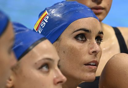 Ona Carbonell, during the warm-up prior to the performance of the Spanish team in the European Budapest.