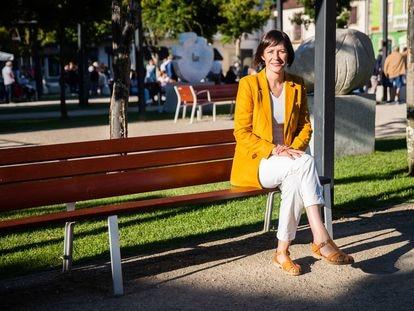 Ana Pontón, candidata a la presidencia de la Xunta de Galicia por el BNG, el jueves en una plaza de Tomiño.