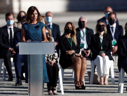 Aroa López durante su intervención en el homenaje de Estado a las víctimas de la pandemia.