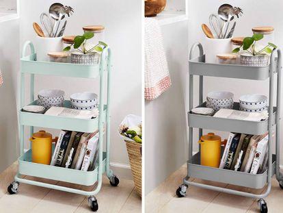 Con una estructura en metal resistente y ruedas polivalentes se puede mover fácilmente por el hogar.