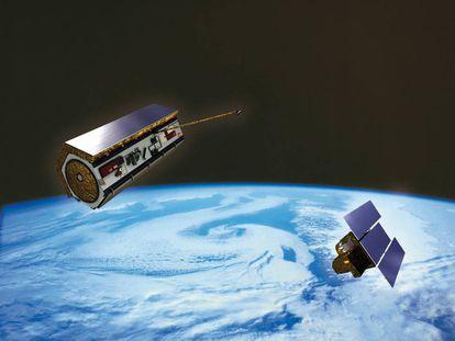 Recreación en el espacio del satélite Paz (a la izquierda) junto al Ingenio.