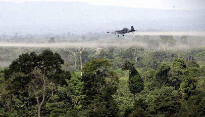 Fumigación de cultivos de coca con glifosato en Colombia.